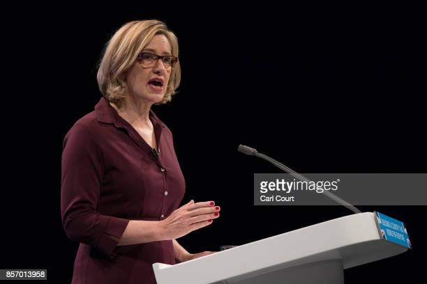 Home Secretary Amber Rudd delivers her keynote speech on day three of the Conservative Party Conference at Manchester Central on October 3 2017 in...