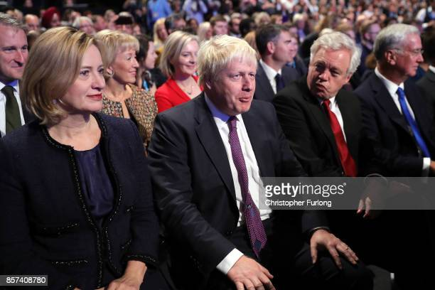 Home Secretary Amber Rudd Foreign Secretary Boris Johnson Brexit Secretary David Davis and Defence Secretary Michael Fallon await the arrival of...