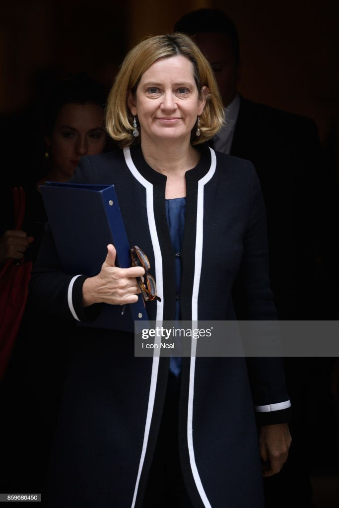 Home Secretary Amber Rudd leaves Downing Street, following a Cabinet meeting on October 10, 2017 in London, England. The meeting was the first since the Conservative Party conference.