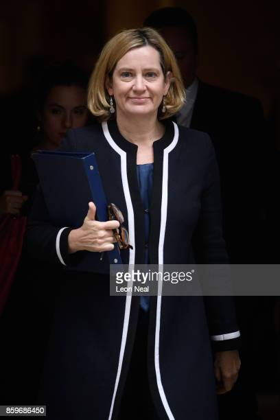 Home Secretary Amber Rudd leaves Downing Street following a Cabinet meeting on October 10 2017 in London England The meeting was the first since the...