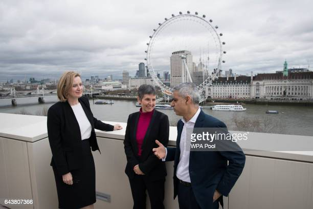 Home Secretary Amber Rudd Newly appointed Metropolitan Police commissioner Cressida Dick and Mayor of London Sadiq Khan pose for a photo at New...