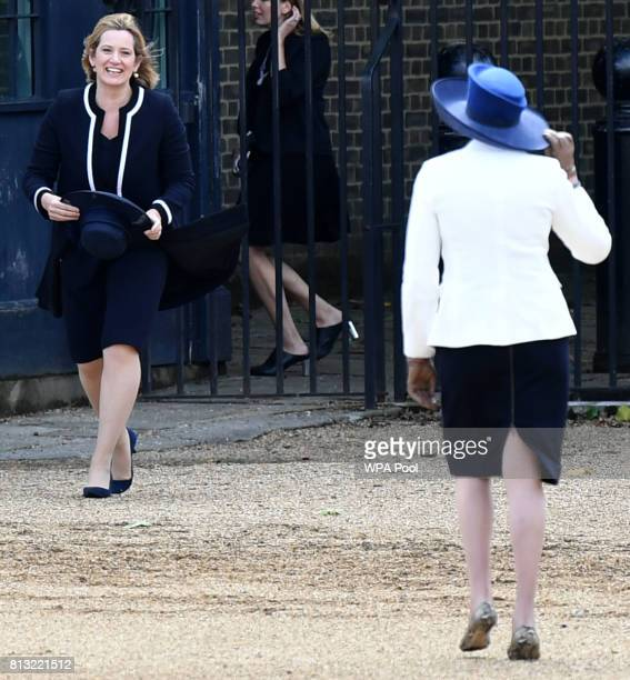 Home Secretary Amber Rudd smiles after collecting her hat which blew off on July 12 2017 in London England This is the first state visit by the...