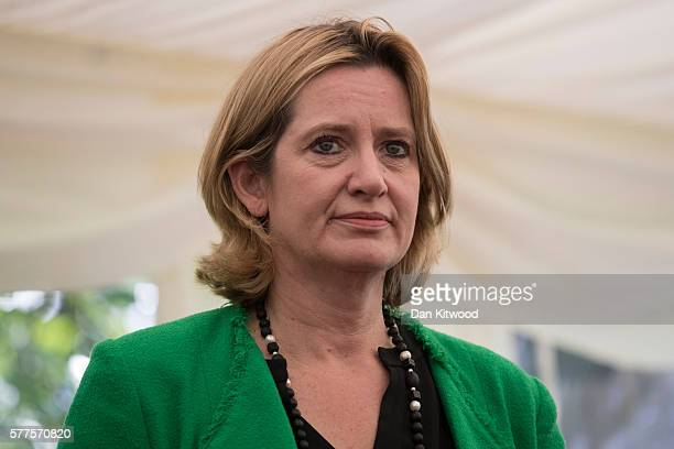 Home Secretary Amber Rudd speeks to members of the Press in a marquee at the back of Lambeth Palace on July 19 2016 in London England The Home...