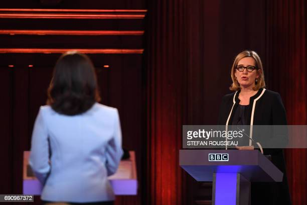 Home Secretary Amber Rudd takes part in the BBC Election Debate hosted by BBC news presenter Mishal Husain and broadcast live from Senate House in...