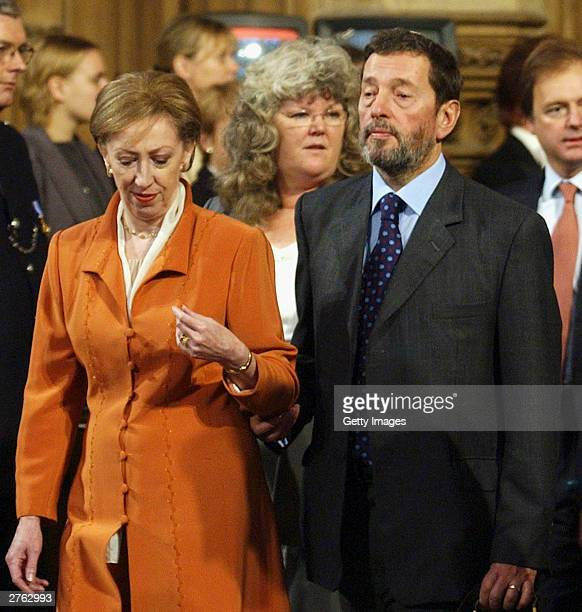 Home Secretary David Blunkett and Secretary of State for Environment Margaret Beckett processed into the chamber of the House Of Lords to listen to...