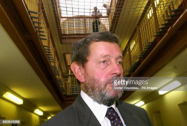 Home Secretary David Blunkett at Lewes Prison in East Sussex where the first touchscreen computers giving inmates access to all job vacancies across...