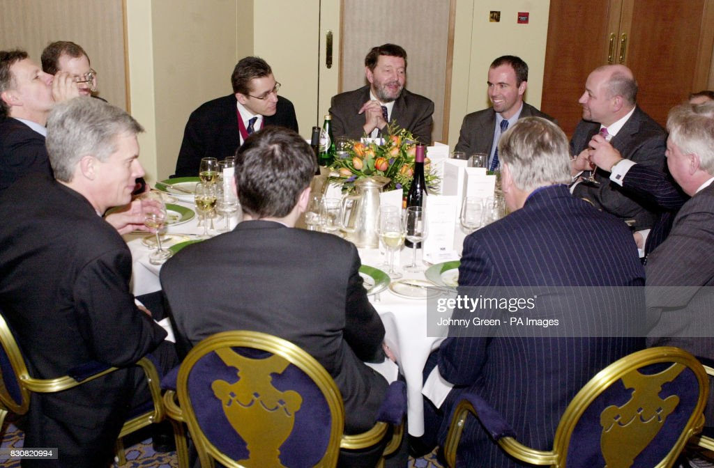 Home Secretary David Blunkett enjoys lunch with among others Chairman of the Newspaper Conference Matthew George from the Western Daily Press (left of Blunkett as we look) and the Bristol Evening Post's Rob Merrick (right of Blunkett). *.... at the Newspaper Conference annual lunch at the Park Lane Hilton in central London. Later, Mr Blunkett spoke of the role played by regional media in building social cohesion, tackling racism and civil renewal.