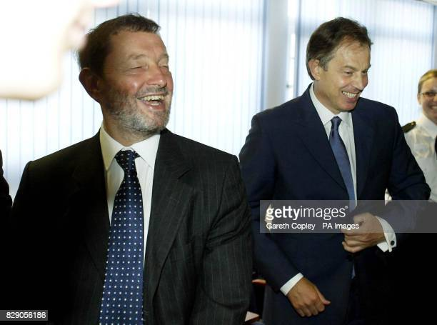 Home Secretary David Blunkett with Britain's Prime Minister Tony Blair during a visit to Ecclesfield Police Station Sheffield Police would use lie...