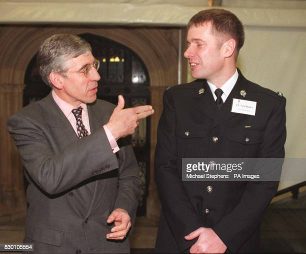 Home Secretary Jack Straw with Pc Neil Dalby of Queensbury BradfordWest Yorkshire Police who was today awarded the Queen's Commendation for Bravery...