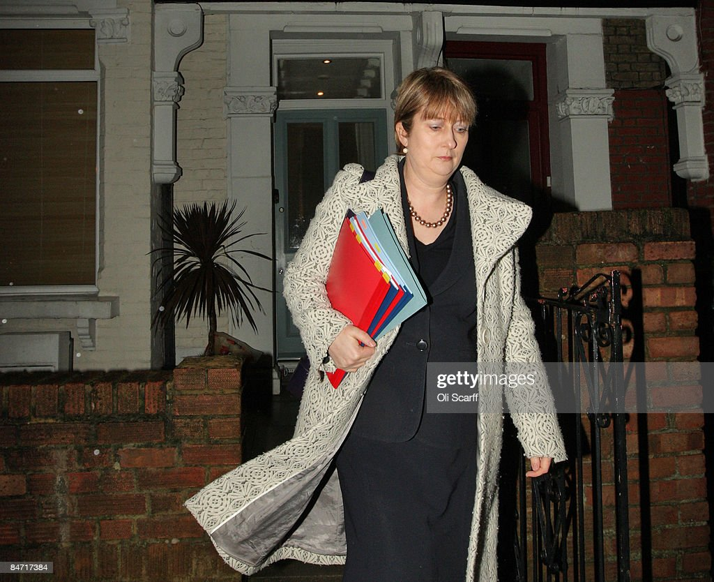 Home Secretary Jacqui Smith leaves her sister's home in Southwark which she claims as her main residence on February 10, 2009 in London, England. Smith is facing continued criticism for claiming 'second home' expenses for the house she shares with her husband and children.