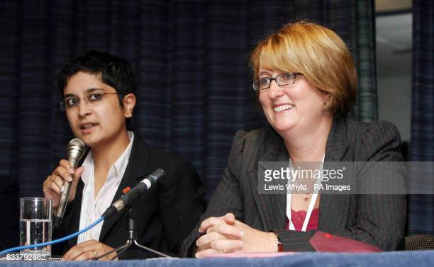 Home Secretary Jacqui Smith MP and Liberty Director Shami Chakrabarti at a fringe meeting during the Labour Party Conference in Bournemouth