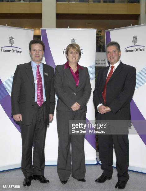 Home Secretary Jacqui Smith with Heathrow Director Philip Astle and BAA Chief Operating Officer Mike Brown at the Home Office in London after they...