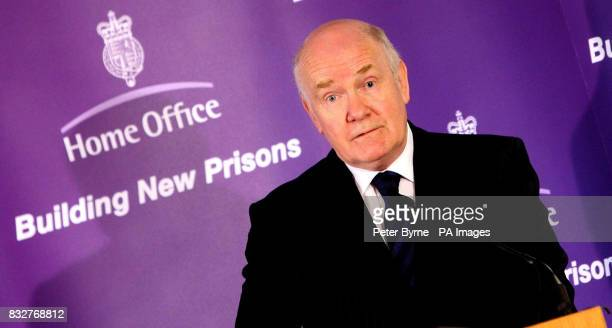 Home Secretary John Reid gives a speech on managing the prison populations at the site of HMP Kennet in Maghull a new prison which will open later...