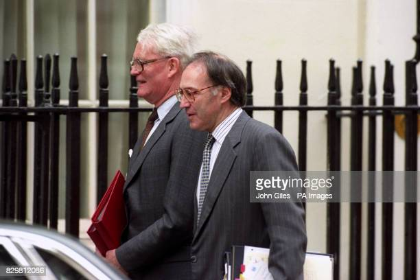 Home Secretary Michael Howard and Foreign Secretary Douglas Hurd arrive for a cabinet meeting at 10 Downing Street