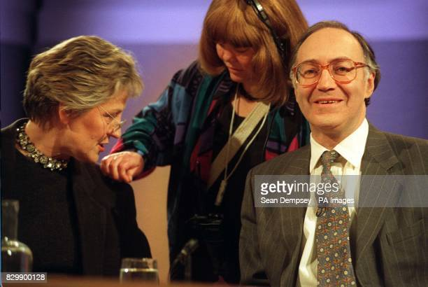 Home Secretary Michael Howard looks forward whilst Germaine Greer chats with the floor manager as they prepare for tonight's edition of the BBC...
