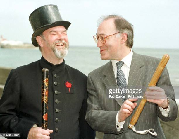 Home Secretary Michael Howard shares a joke about the traditional face of policing with a character in traditional early police uniform whilst at the...