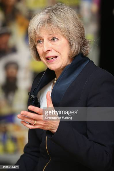 Home Secretary Theresa May addresses delegates during the National Black Police Association Conference at Tally Ho Conference Centre on October 22...
