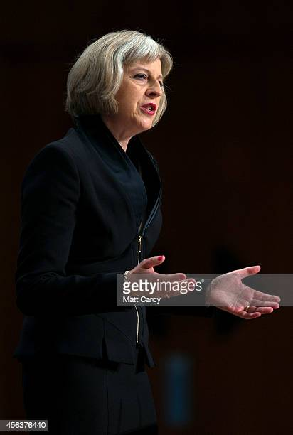 Home Secretary Theresa May addresses the Conservative Party Conference in the main hall of the ICC Birmingham on on September 30 2014 in Birmingham...
