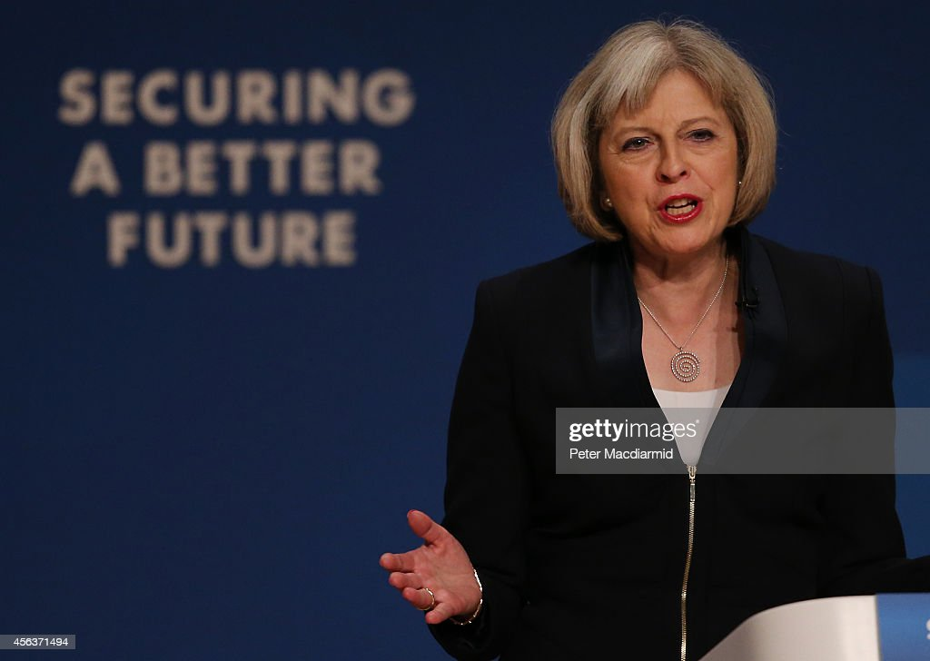 Home Secretary <a gi-track='captionPersonalityLinkClicked' href=/galleries/search?phrase=Theresa+May&family=editorial&specificpeople=832274 ng-click='$event.stopPropagation()'>Theresa May</a> addresses the Conservative party conference on September 30, 2014 in Birmingham, England. The third day of conference will see speeches on home affairs and justice.