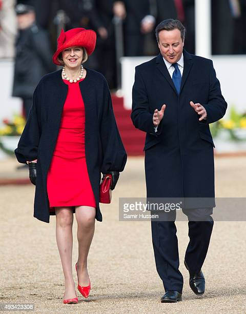 Home Secretary Theresa May and British Prime Minister David Cameron attend the Official Ceremonial Welcome for the Chinese State Visit on Horseguards...