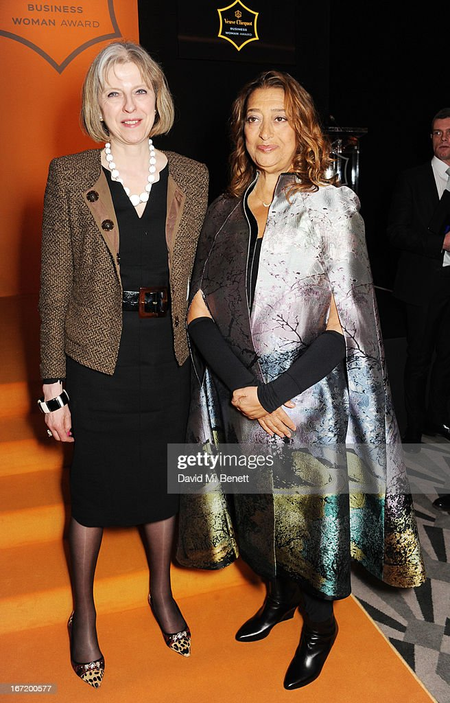 Home Secretary Theresa May and Dame <a gi-track='captionPersonalityLinkClicked' href=/galleries/search?phrase=Zaha+Hadid&family=editorial&specificpeople=560782 ng-click='$event.stopPropagation()'>Zaha Hadid</a>, winner of the Veuve Clicquot Business Woman Award 2013 attend the Veuve Clicquot Business Woman Award 2013 at Claridge's Hotel on April 22, 2013 in London, England.