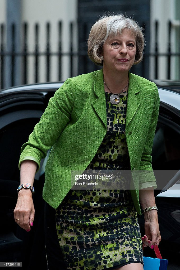 Home Secretary <a gi-track='captionPersonalityLinkClicked' href=/galleries/search?phrase=Theresa+May&family=editorial&specificpeople=832274 ng-click='$event.stopPropagation()'>Theresa May</a> arrives at Downing Street for a cabinet meeting on September 8, 2015 in London, England. Prime minister David Cameron will chair the first cabinet meeting following the summer recess amidst criticism of his response to the European migrant crisis.