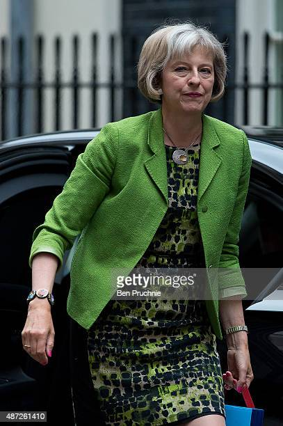 Home Secretary Theresa May arrives at Downing Street for a cabinet meeting on September 8 2015 in London England Prime minister David Cameron will...