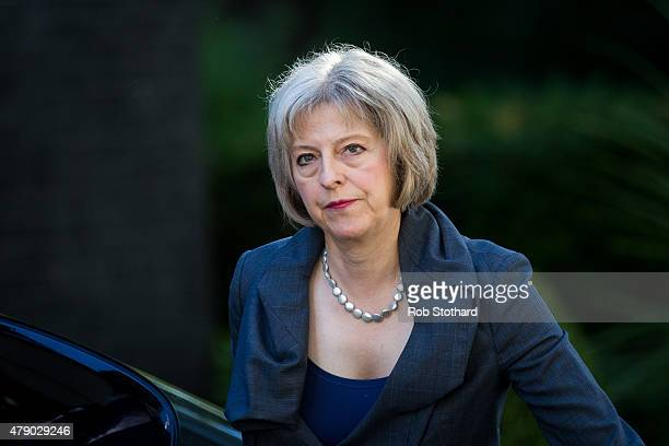 Home Secretary Theresa May arrives at Downing Street on June 30 2015 in London England Prime Minister David Cameron will chair a meeting of...
