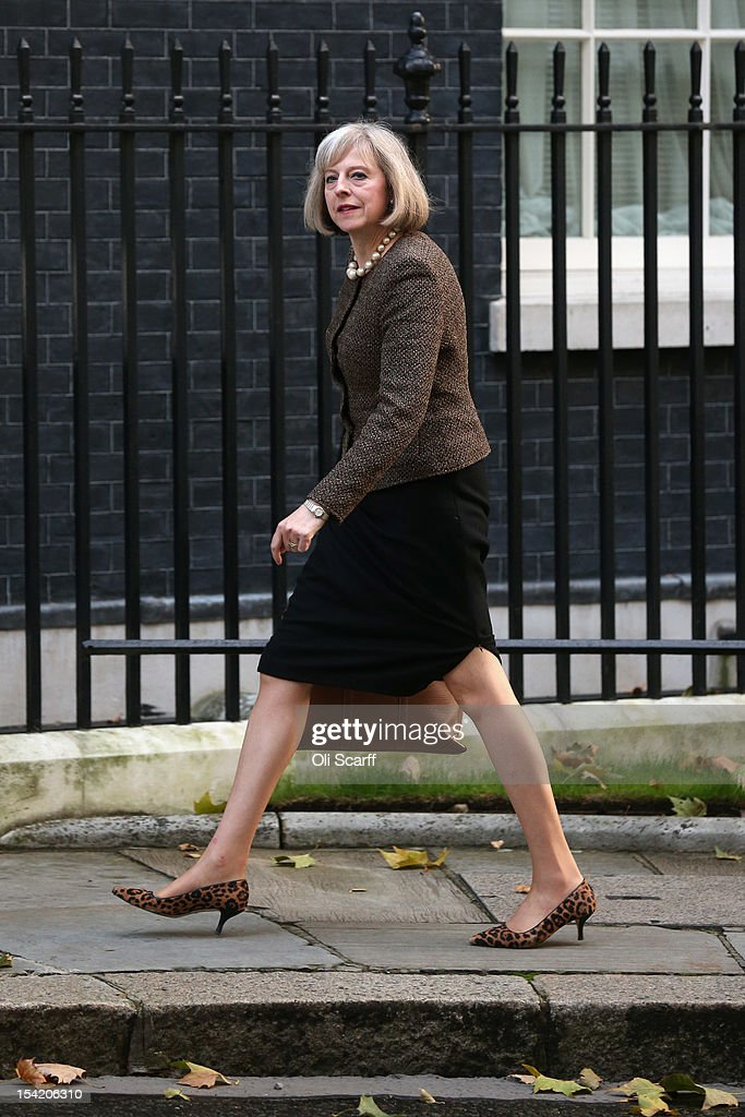 Home Secretary Theresa May arrives at Number 10 Downing Street to attend the weekly Cabinet meeting on October 16, 2012 in London, England. Home Secretary Theresa May will decide today on whether to extradite computer hacker Gary McKinnon, who suffers from Asperger's Syndrome, to the United States for illegally accessing dozens of military computers.