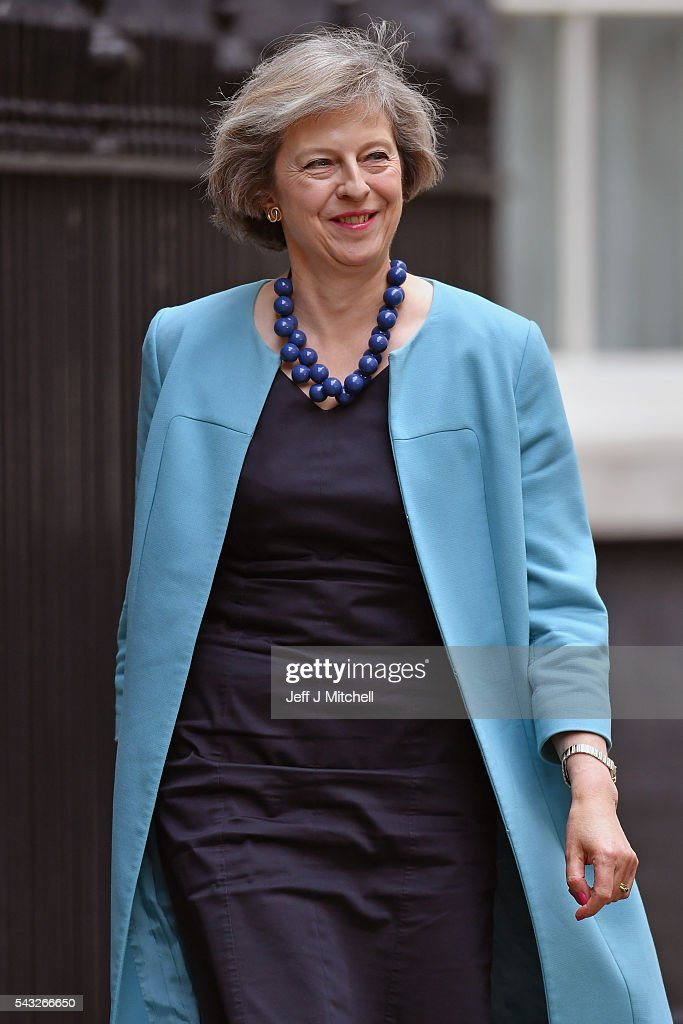 Home Secretary Theresa May arrives for a cabinet meeting at Downing Street on June 27, 2016 in London, England. British Prime Minister David Cameron is due to chair an emergency Cabinet meeting this morning, after Britain voted to leave the European Union. Chancellor George Osborne spoke at a press conference ahead of the start of financial trading and outlining how the Government will 'protect the national interest' after the UK voted to leave the EU.