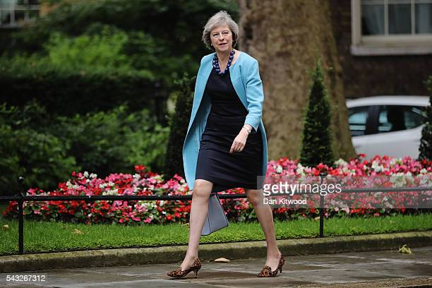 Home Secretary Theresa May arrives for a cabinet meeting at Downing Street on June 27 2016 in London England British Prime Minister David Cameron is...