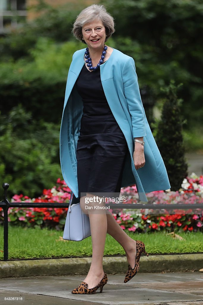 Home Secretary <a gi-track='captionPersonalityLinkClicked' href=/galleries/search?phrase=Theresa+May&family=editorial&specificpeople=832274 ng-click='$event.stopPropagation()'>Theresa May</a> arrives for a cabinet meeting at Downing Street on June 27, 2016 in London, England. British Prime Minister David Cameron is due to chair an emergency Cabinet meeting this morning, after Britain voted to leave the European Union. Chancellor George Osborne spoke at a press conference ahead of the start of financial trading and outlining how the Government will 'protect the national interest' after the UK voted to leave the EU.