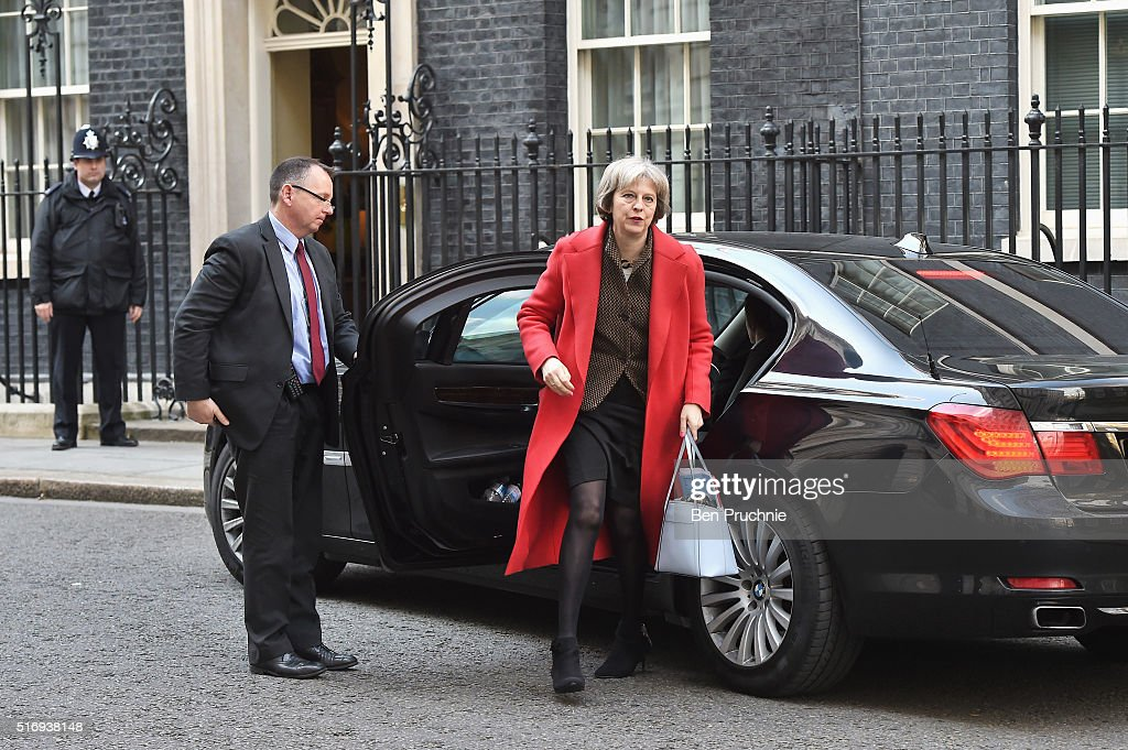 Home Secretary Theresa May arrives for the weekly cabinet meeting chaired by British Prime Minister David Cameron at Number 10 Downing Street on March 22, 2016 in London, England. Today is the first cabinet meeting since Iain Duncan Smith was replaced by Stephen Crabb as Secretary of State for Work and Pensions.