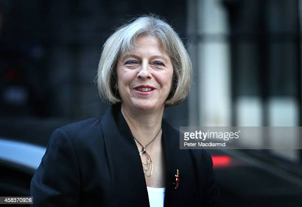 Home Secretary Theresa May arrives in Downing Street on November 4 2014 in London England Liberal Democrat MP Norman Baker has resigned as a Home...