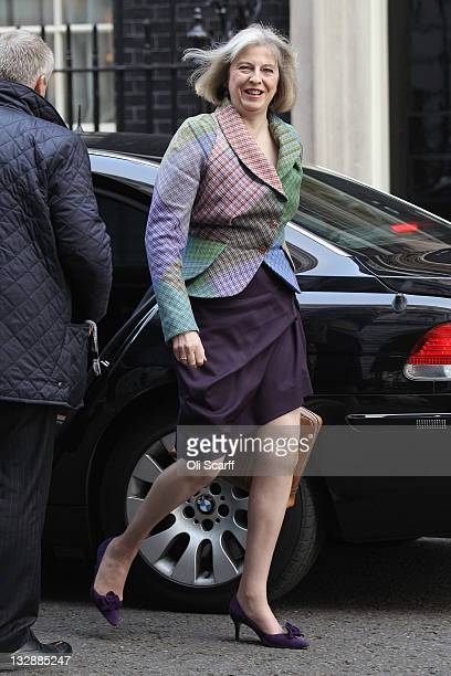 Home Secretary Theresa May arrives in Downing Street to attend the Weekly Cabinet Meeting on November 15 2011 in London England Mrs May has revealed...