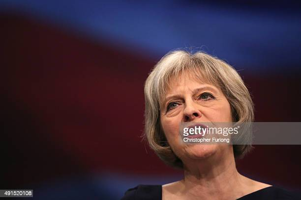 Home Secretary Theresa May delivers her keynote speech to delegates during the Conservative Party Conference on October 6 2015 in Manchester England...