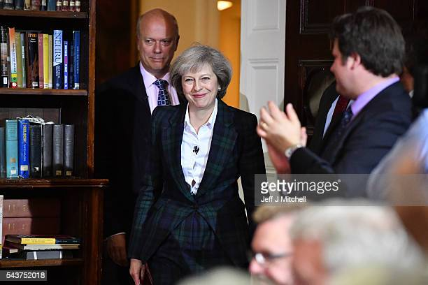 Home Secretary Theresa May is greeted before speaking to launch her bid to become the next Conservative party leader as Chris Grayling Lord President...