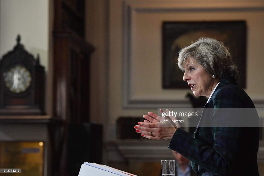 Home Secretary <a gi-track='captionPersonalityLinkClicked' href=/galleries/search?phrase=Theresa+May&family=editorial&specificpeople=832274 ng-click='$event.stopPropagation()'>Theresa May</a>, launches her bid for the Conservative Party leadership on June 30, 2016 in London,England.Nominations for MP s to declare their intention to run for the Conservative Party Leadership and therefore British Prime Minister will close by noon today. The current Prime Minister and party leader, David Cameron, announced his resignation the day after the UK voted to leave the European Union.