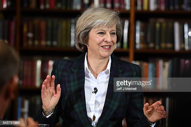 Home Secretary Theresa May speaks as she launches her bid to become the next Conservative party leader at RUSI Whitehall on June 30 2016 in London...