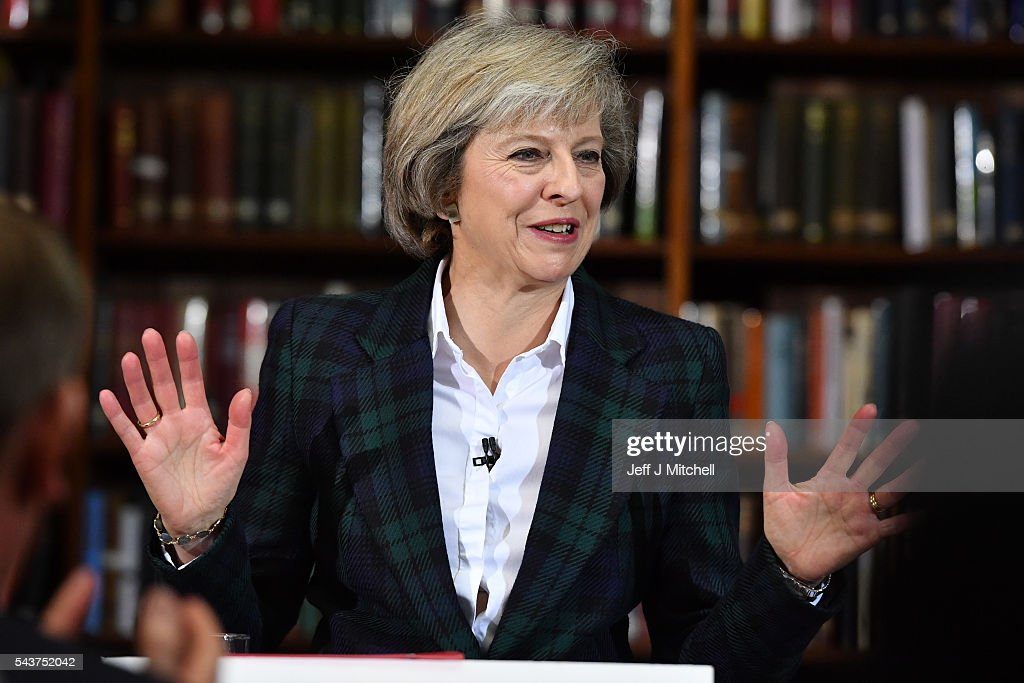 Home Secretary <a gi-track='captionPersonalityLinkClicked' href=/galleries/search?phrase=Theresa+May&family=editorial&specificpeople=832274 ng-click='$event.stopPropagation()'>Theresa May</a> speaks as she launches her bid to become the next Conservative party leader at RUSI Whitehall on June 30, 2016 in London, England. Nominations for MP s to declare their intention to run for the Conservative Party Leadership and therefore British Prime Minister will close by noon today. The current Prime Minister and party leader, David Cameron, announced his resignation the day after the UK voted to leave the European Union.