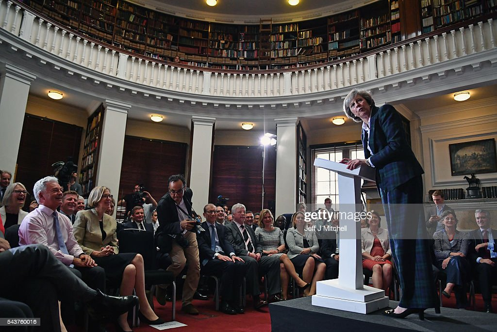 Home Secretary Theresa May speaks as she launches her bid to become the next Conservative party leader at RUSI Whitehall on June 30, 2016 in London, England. Nominations for MP's to declare their intention to run for the Conservative Party Leadership and therefore British Prime Minister will close by noon today. The current Prime Minister and party leader, David Cameron, announced his resignation the day after the UK voted to leave the European Union.