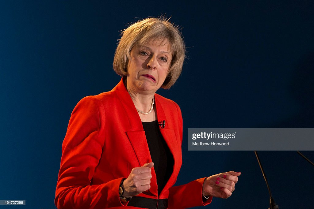 Home Secretary <a gi-track='captionPersonalityLinkClicked' href=/galleries/search?phrase=Theresa+May&family=editorial&specificpeople=832274 ng-click='$event.stopPropagation()'>Theresa May</a> speaks during day two of the Welsh Conservative Party Conference at the SWALEC Stadium on February 28, 2015 in Cardiff, Wales. Britain goes to the polls in a general election on May 7.
