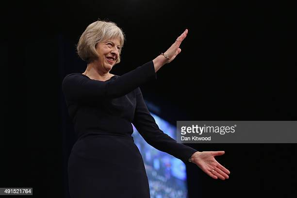 Home Secretary Theresa May speaks to conference on the third day of the Conservative party conference on October 6 2015 in Manchester England Home...