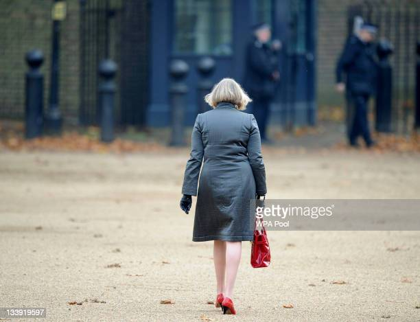 Home Secretary Theresa May walks across Horse Guards Parade after the official welcoming of the President of Turkey Abdullah Gul on November 22 2011...