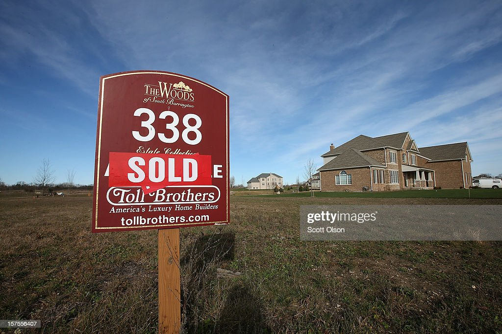 A home site is listed as sold in a Toll Brothers housing development on December 4, 2012 in South Barrington, Illinois. Toll Brothers beat fiscal fourth-quarter earnings expectations which CEO Douglas Yearley Jr. attributed to an increase in home prices, low interest rates and a pent up demand. Nationwide home prices increased 6.3% in October from a year earlier, the biggest year-over-year gain since 2006.