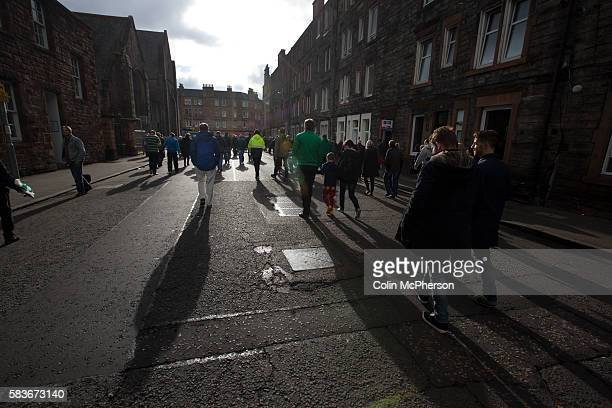 Home supporters making their way from Easter Road stadium at the conclusion of the Scottish Championship match between Hibernian and visitors Alloa...
