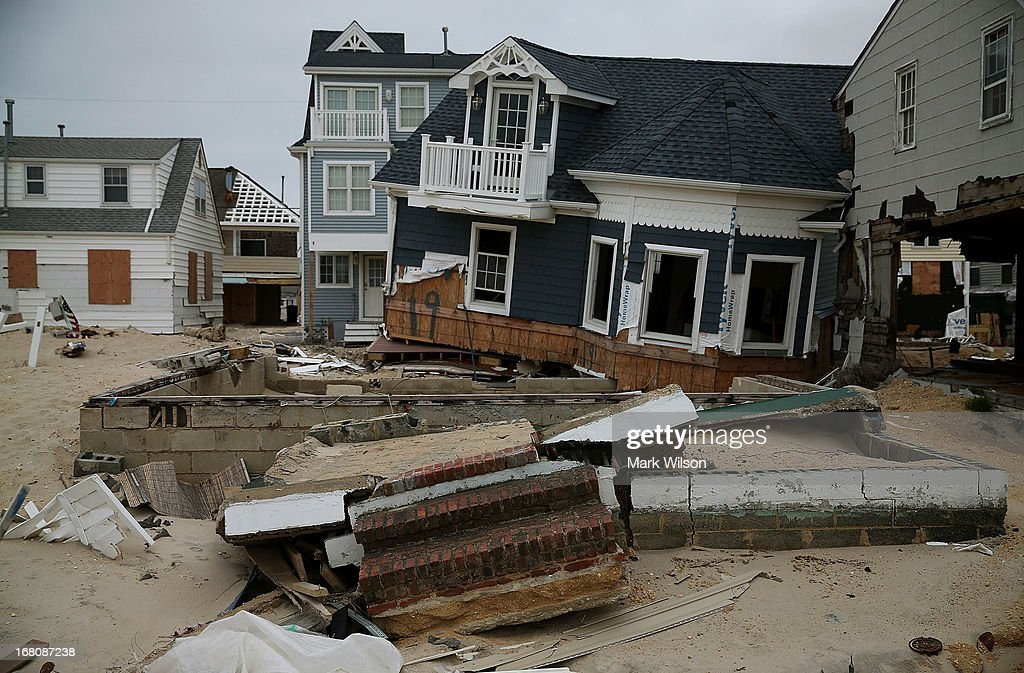 A home that is knocked off its foundation remains damaged and mostly untouched since Superstorm Sandy hit the coastline, May 5, 2013 in Ortley Beach, New Jersey. Superstorm Sandy slammed into the New Jersey coastline six-months ago causing approximately $29.4 billion in damage.