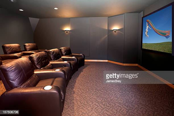 Home Theater Room With Leather Recliners