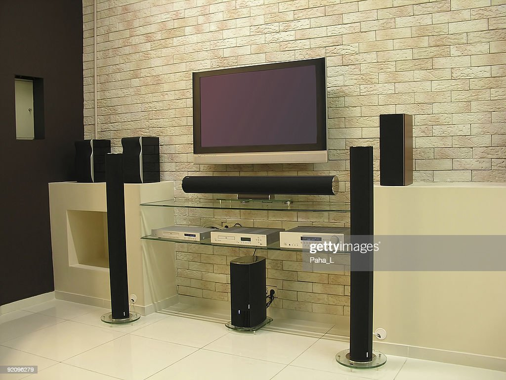 A Home Theater Set Up In A Modern Living Room : Stock Photo