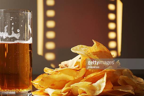 Home Theater Snack of Beer and Potato Chips or Crisps